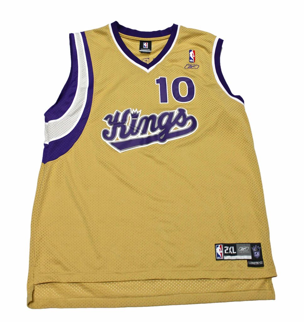 605eebd72f8f ... vintage authentic reebok gold sacramento kings 10 mike bibby nba jersey  mens size 2xl 65.00