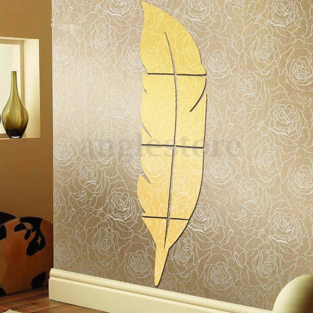 Left Feather Removable 3D Modern Mirror Wall Sticker Art Vinyl Decal ...