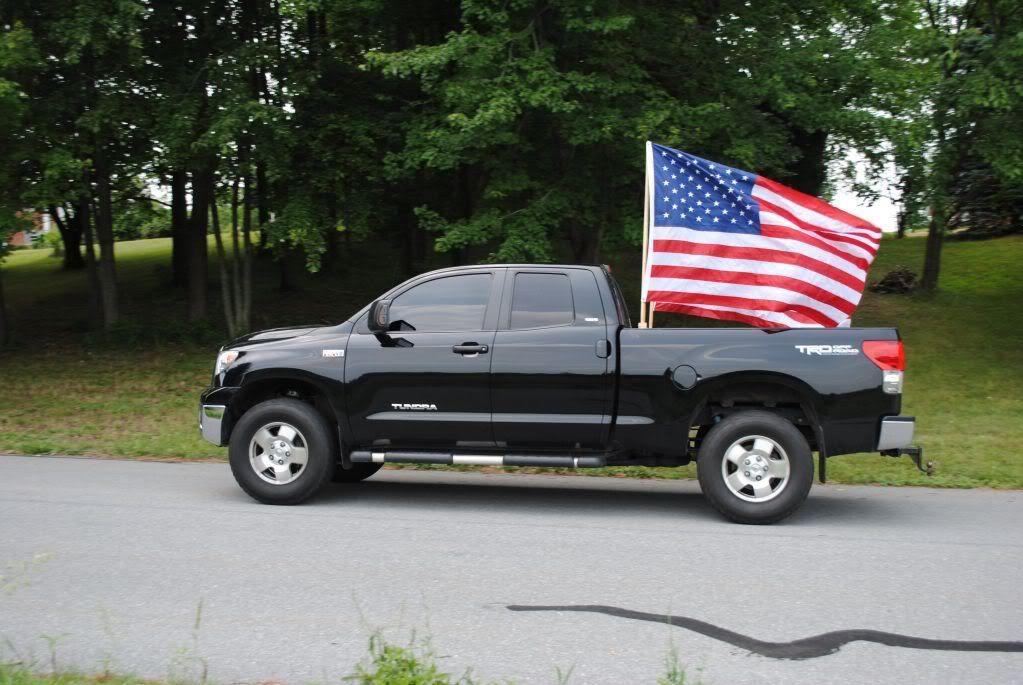 Truck Flying Flag Finally Built Some Flag Holders In The Bed Of The Truck Truck Diy Truck Mods Flag Holder