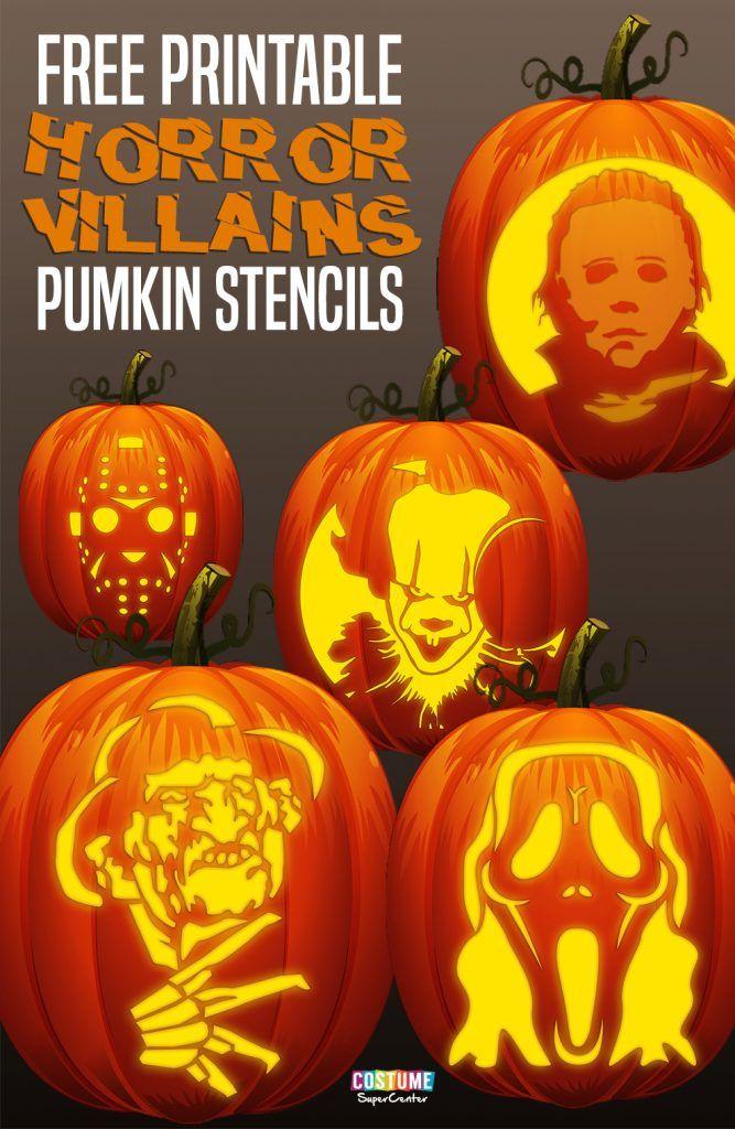 FREE Classic Horror Villains Pumpkin Stencils