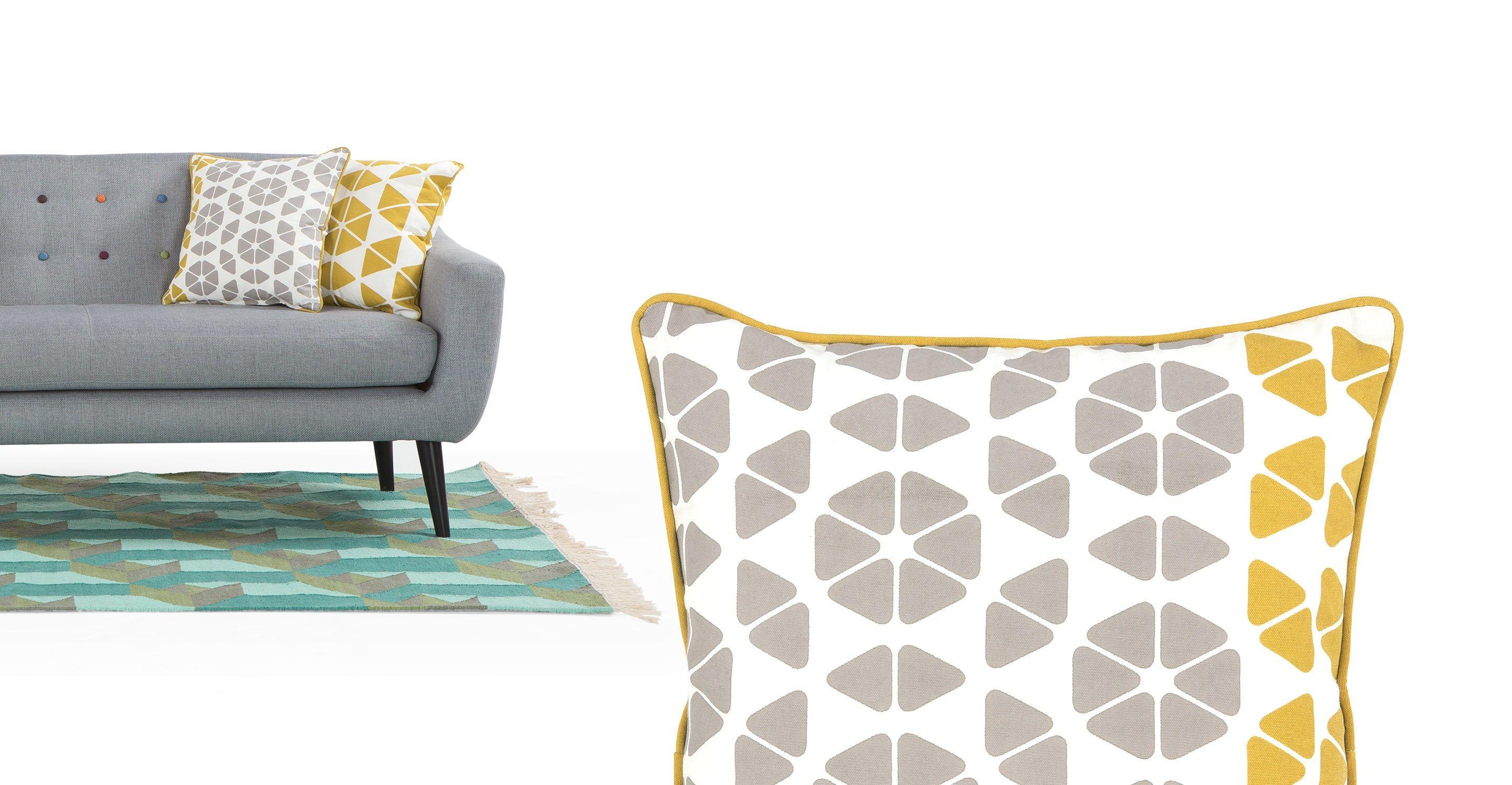 Trio Cushion 45 X 45cm Grey And Mustard Kissen Gelb Antike Esszimmerstühle Kissen Design