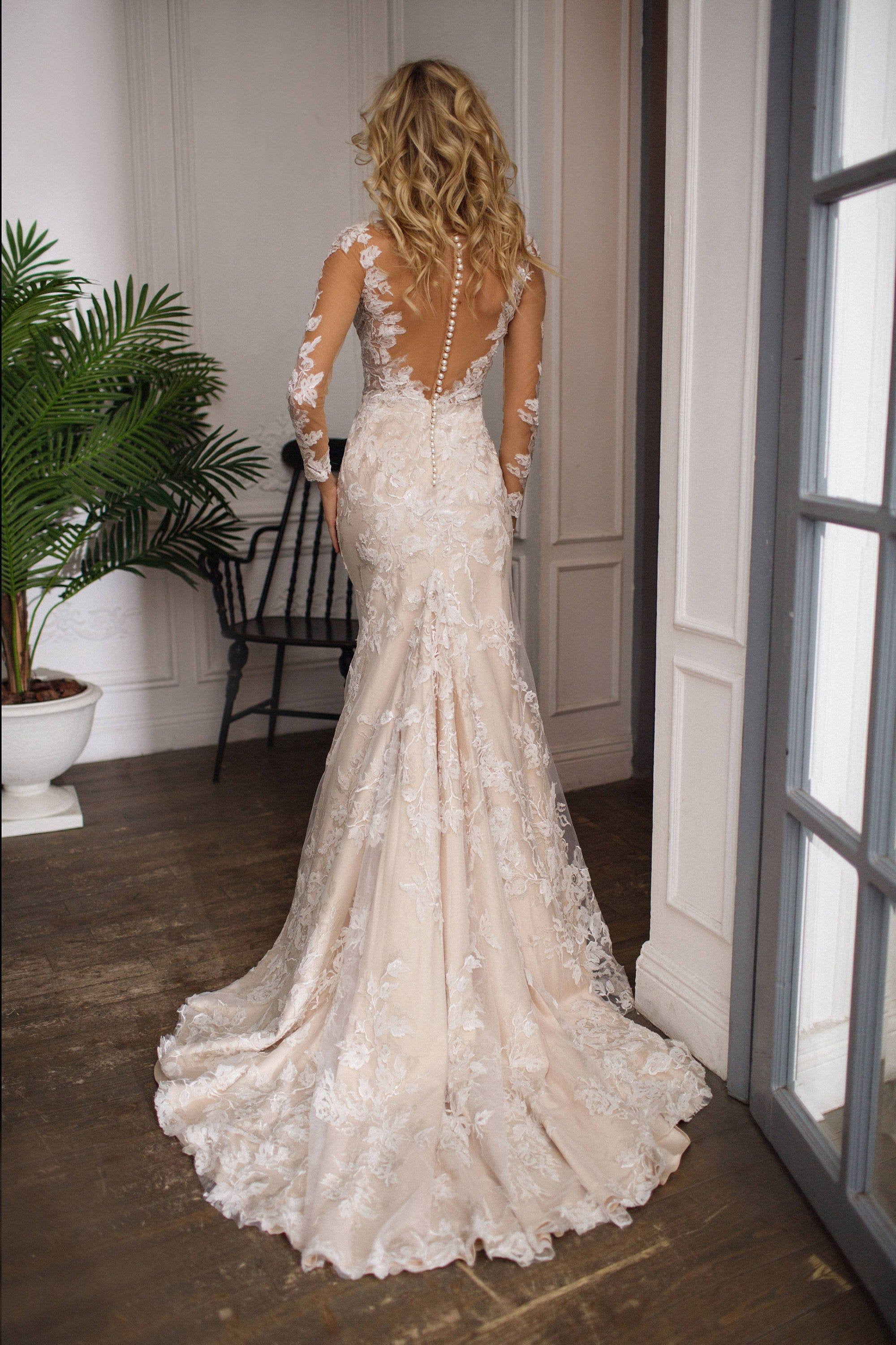 long sleeve wedding dress  Drafne, low back wedding dress, illusion lace long sleeves