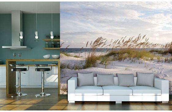 Poster plage de sable direction océan déco grand format scenolia · papier peint