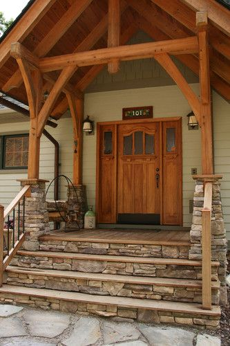 I want a wooden deck with stone steps. And I absolutely the ... Elevated Log Home Porch Design Html on