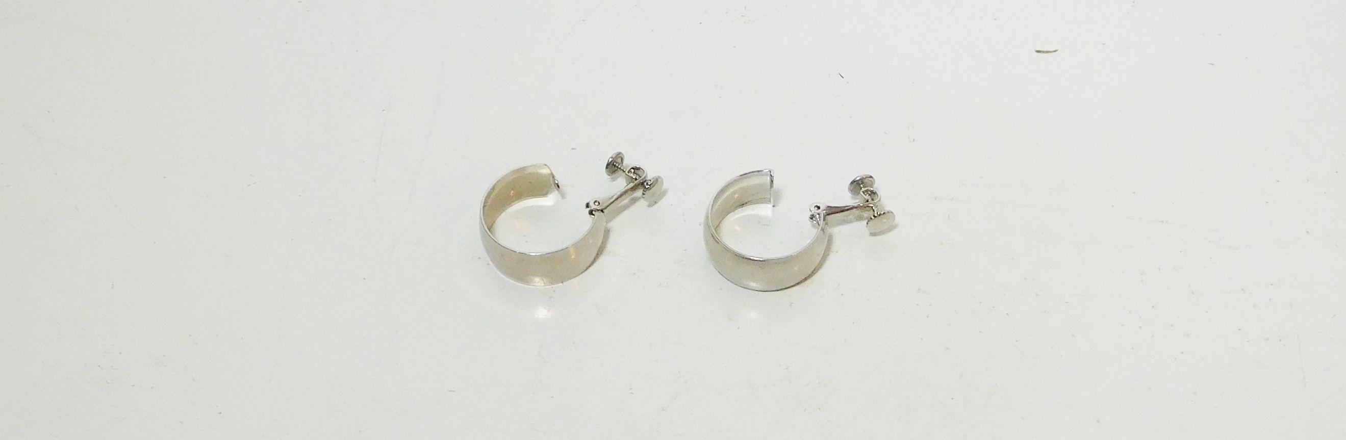 Small Wide Silver Tone Clip On Back Hoop Earrings
