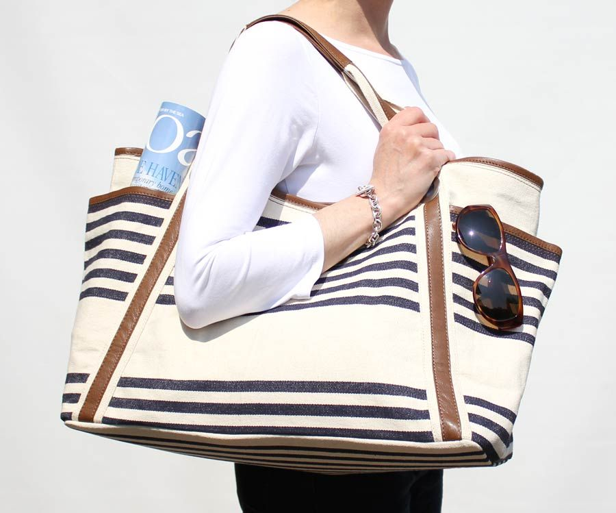 Large Beach Bag Nautical Striped Cream Navy Blue Canvas Leather The