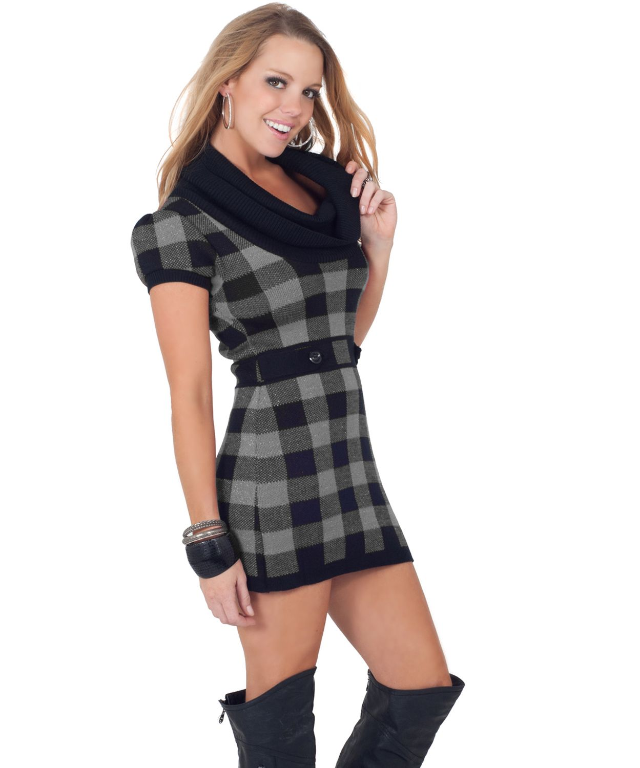 short-sleeve-cowl-neck-fitted-warm-winter-plaid-sweater-mini-dress ...