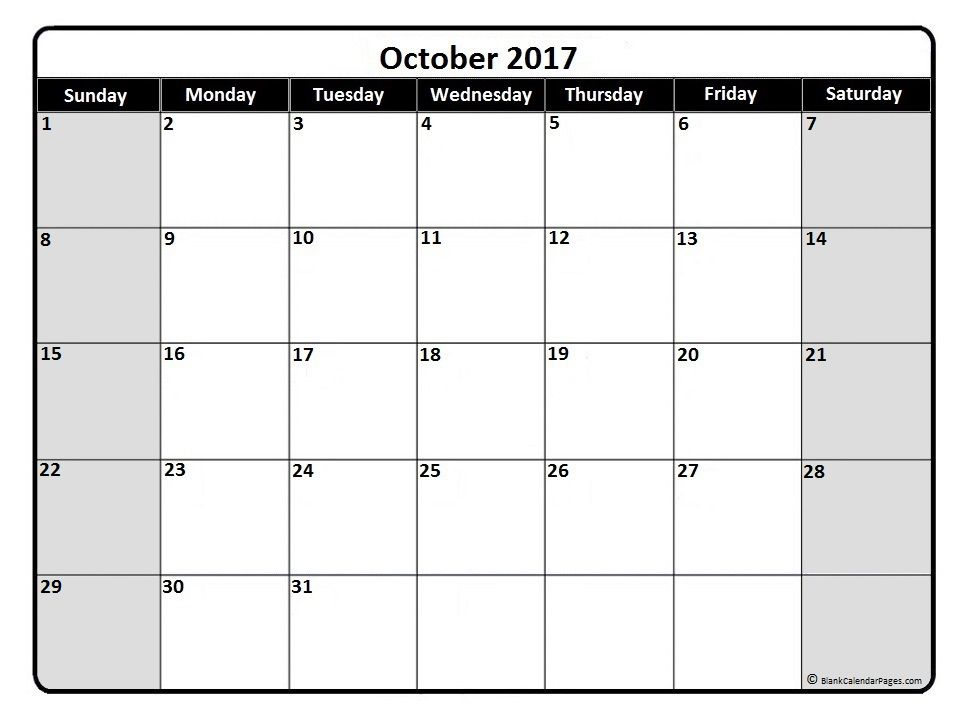 October 2017 Monthly Calendar Printable Life Hacks Pinterest