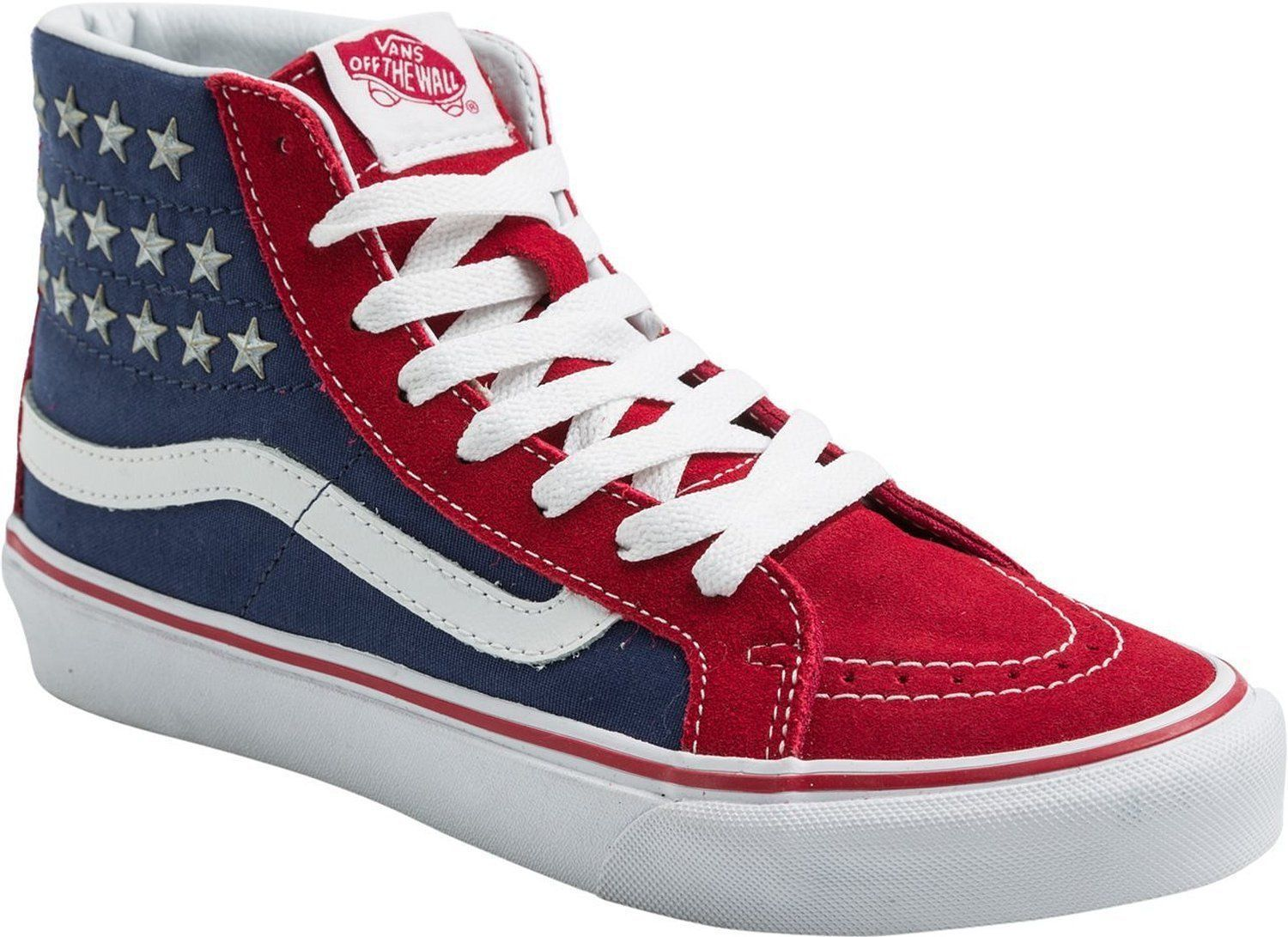 aa4fb68859311c VANS Sk8-Hi Slim Studded Stars Sneakers Shoes American Flag Red Blue NEW   70 Get classic in patriotic fashion with these high top shoes that feature  an ...