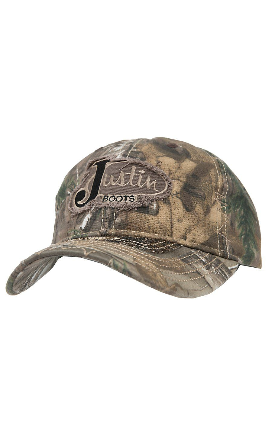 Justin Boots® Realtree Camo with Frayed Logo   Mesh Back Cap 067578e1304c