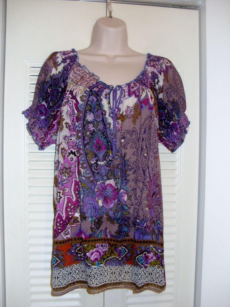 Bila Paisley Beaded Hippie Boho Peasant Purple Top Anthropologie Large Sheer XL  #bila #Blouse #Casual