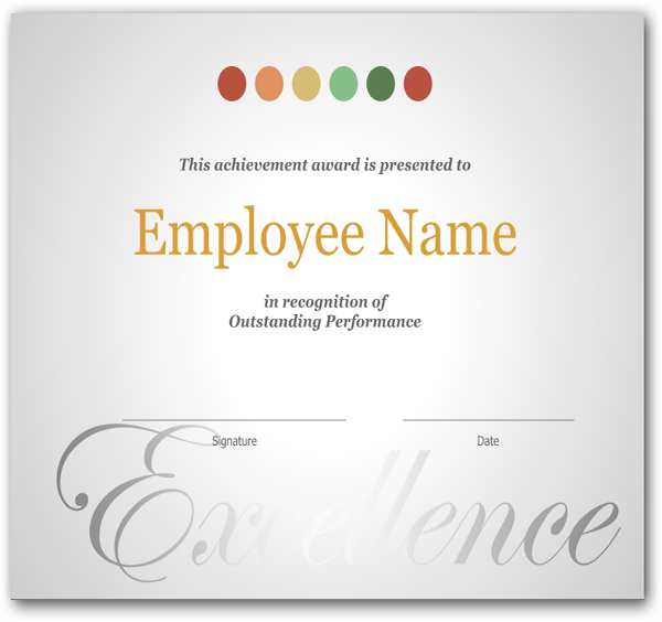 Employee Recognition Certificate Template Excellence Award Wording Free  Printable And  Excellence Award Wording