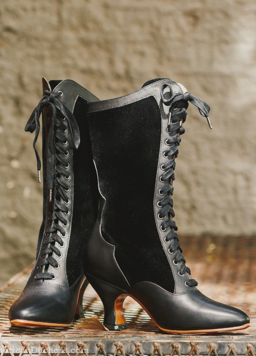 a937933a4f7 Victorian Boots & Shoes – Granny Boots & Shoes Camille Edwardian Boots  (Black)(1890-1930) $199.00 AT vintagedancer.com