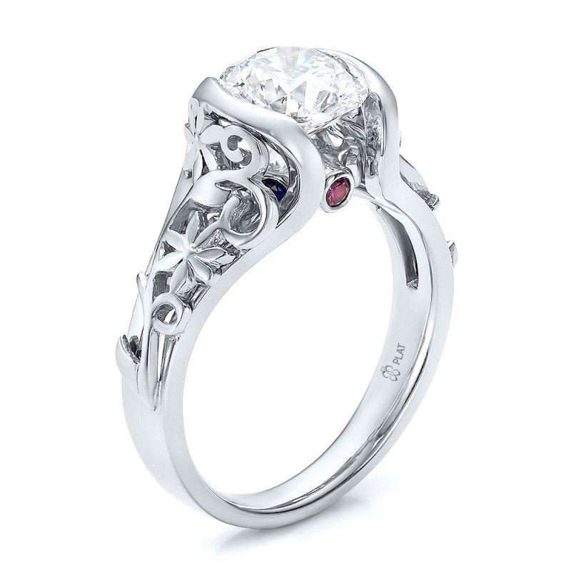 Custom filigree and diamond engagement ring