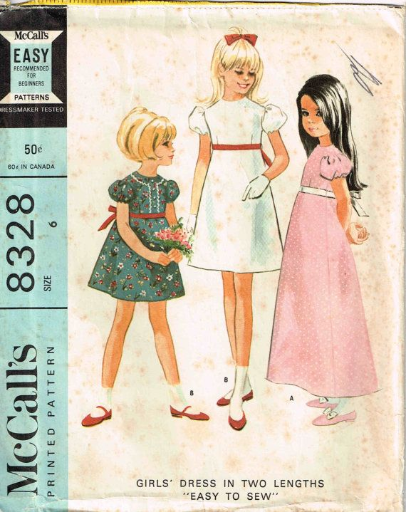 a74fd247eb067 Child High Waisted Empire Waist Dress Fitted Bodice Sewing Pattern Girls  McCalls 8328 by PeoplePackages
