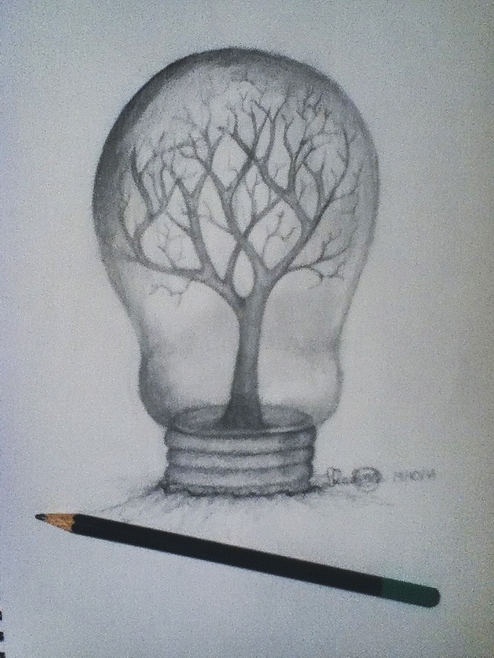 surrealism drawing of an eye in a lightbulb i drew for an art project