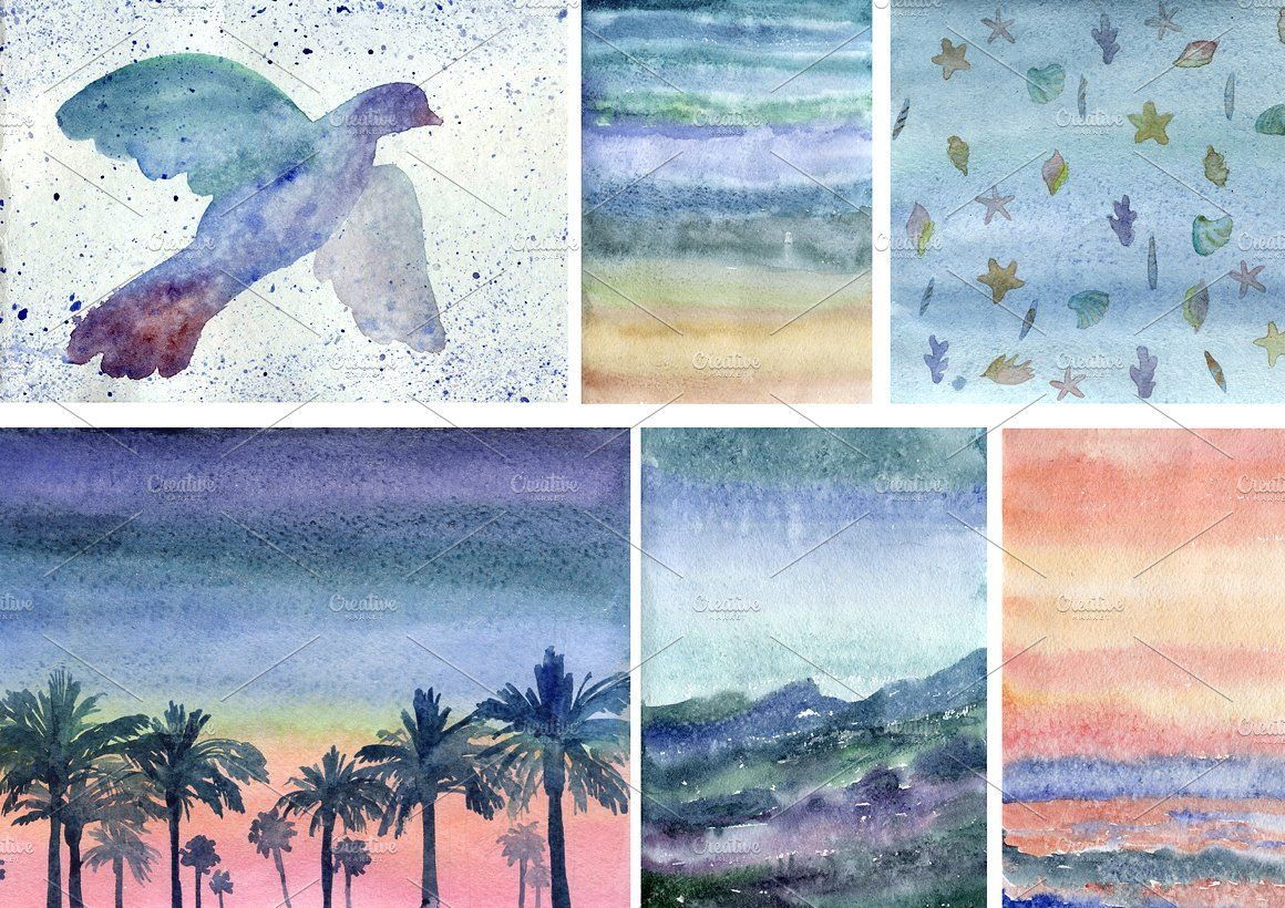 Watercolor Beach Backgrounds Brightness Contrast Crop Ready