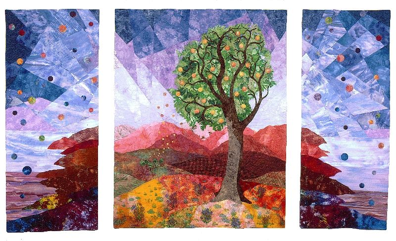 """""""Welcome Communication"""" by Eileen Doughty.  A wonderful triptych she designed to hang in the reception area of the Community Center for the Deat and Hard of Hearing in Taylorsville, Utah."""