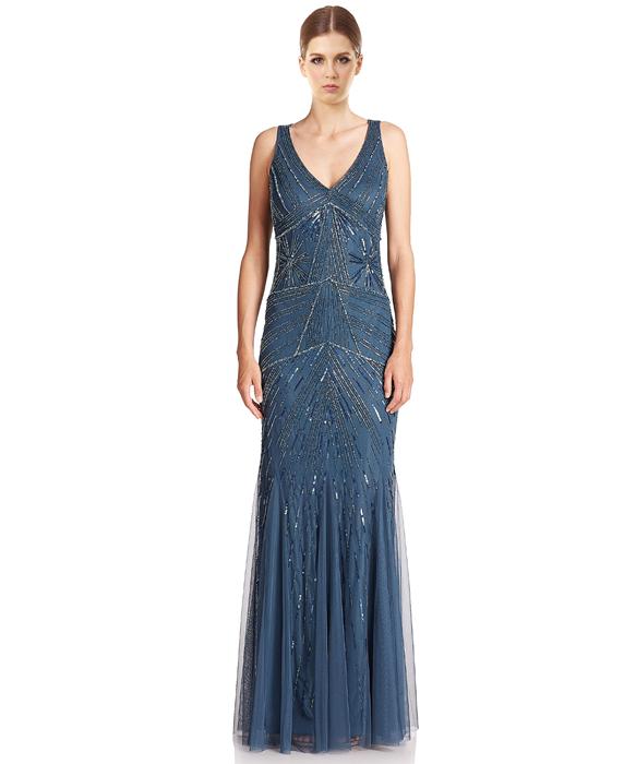 Embellished Godet Formal Evening Gown