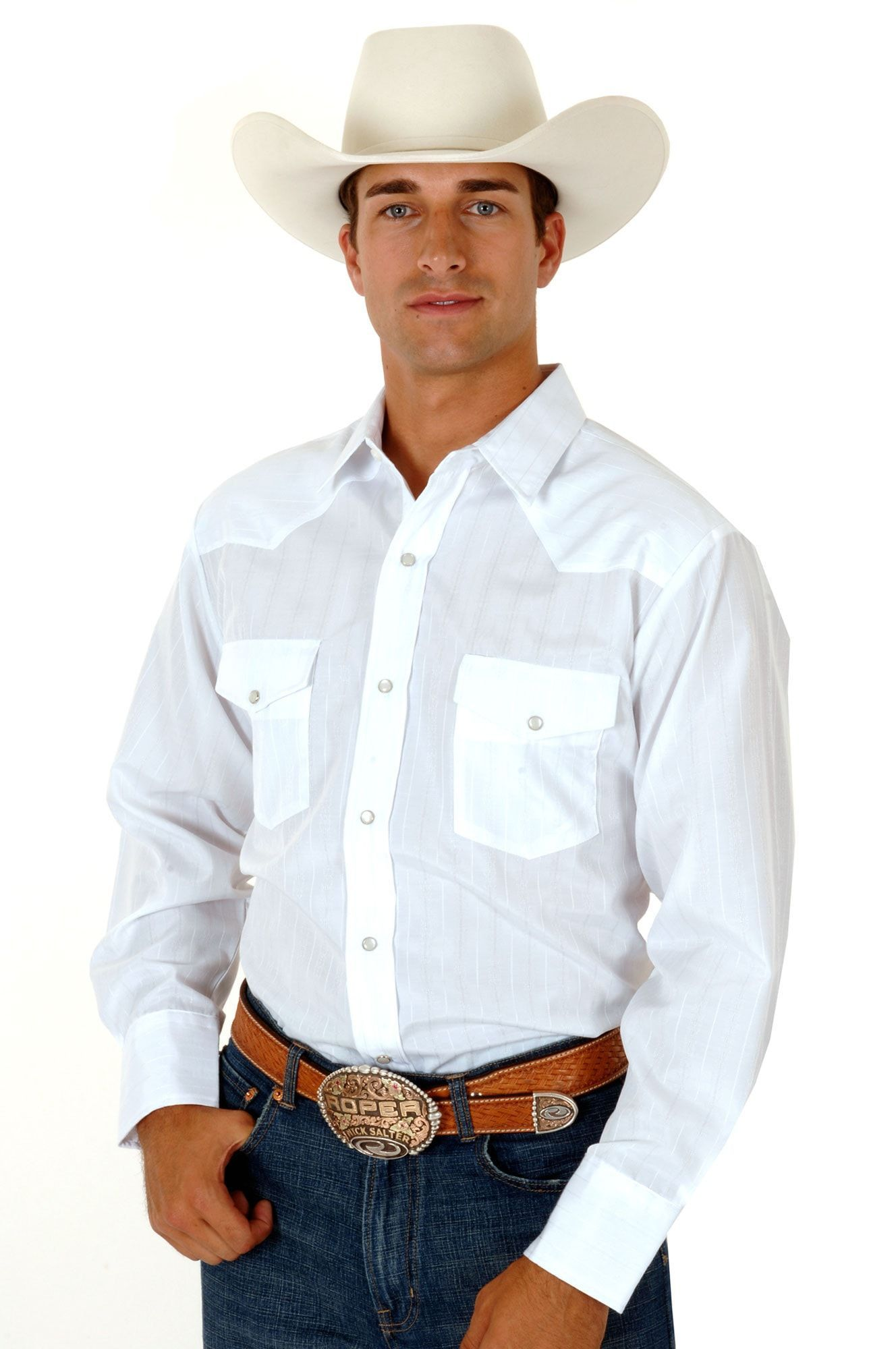 Roper Mens White Cotton Blend L/S Solid Snap Button Western Shirt