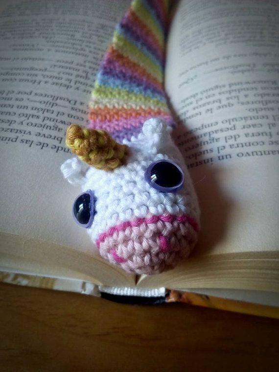 Unicorn Knitting Books : Rainbow unicorn bookmark crochet amigurumi por