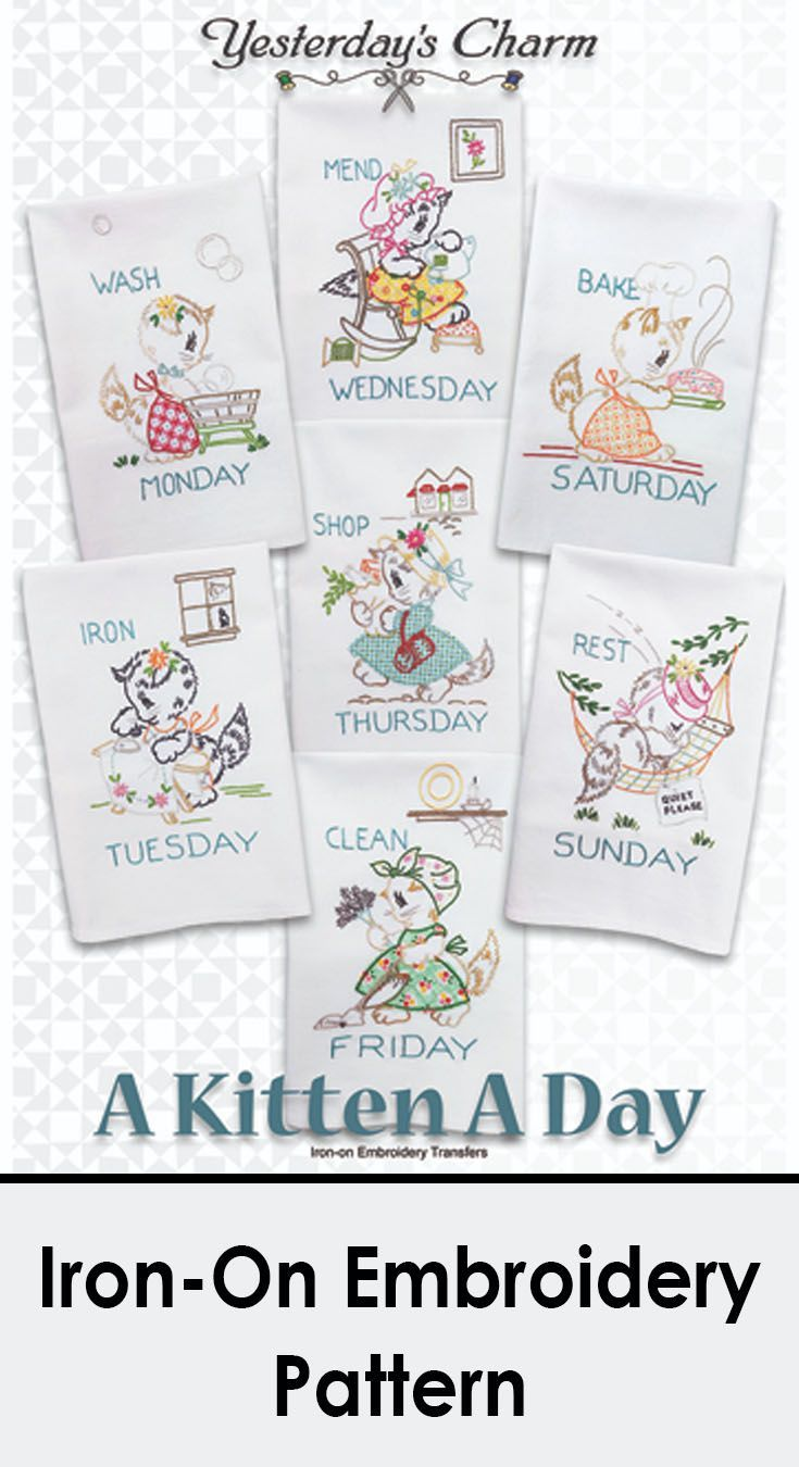 A Kitten A Day ironon transfer embroidery pattern Can be done in
