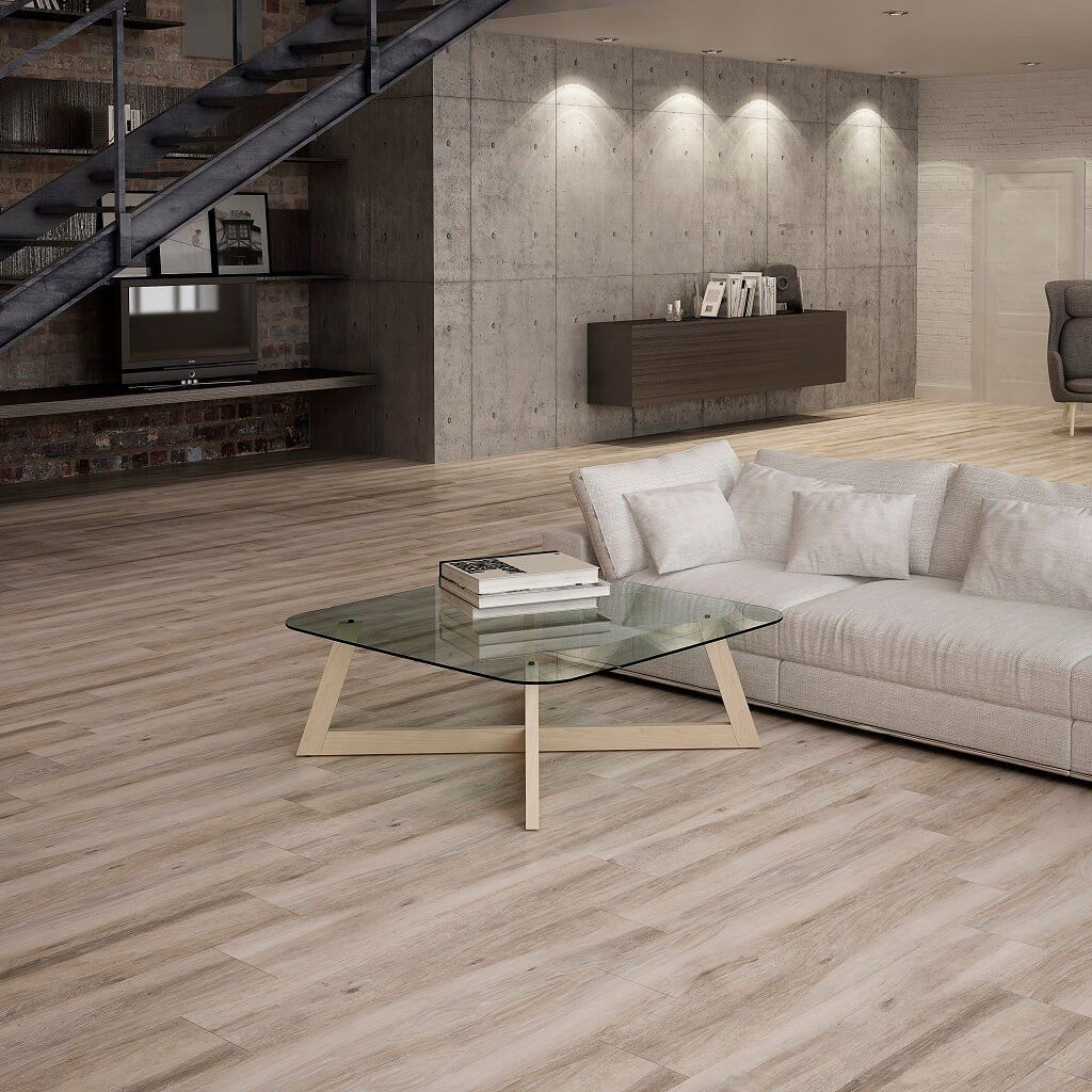 Atelier taupe wood effect tiles in modern living room wood tile atelier taupe wood effect tiles in modern living room dailygadgetfo Choice Image