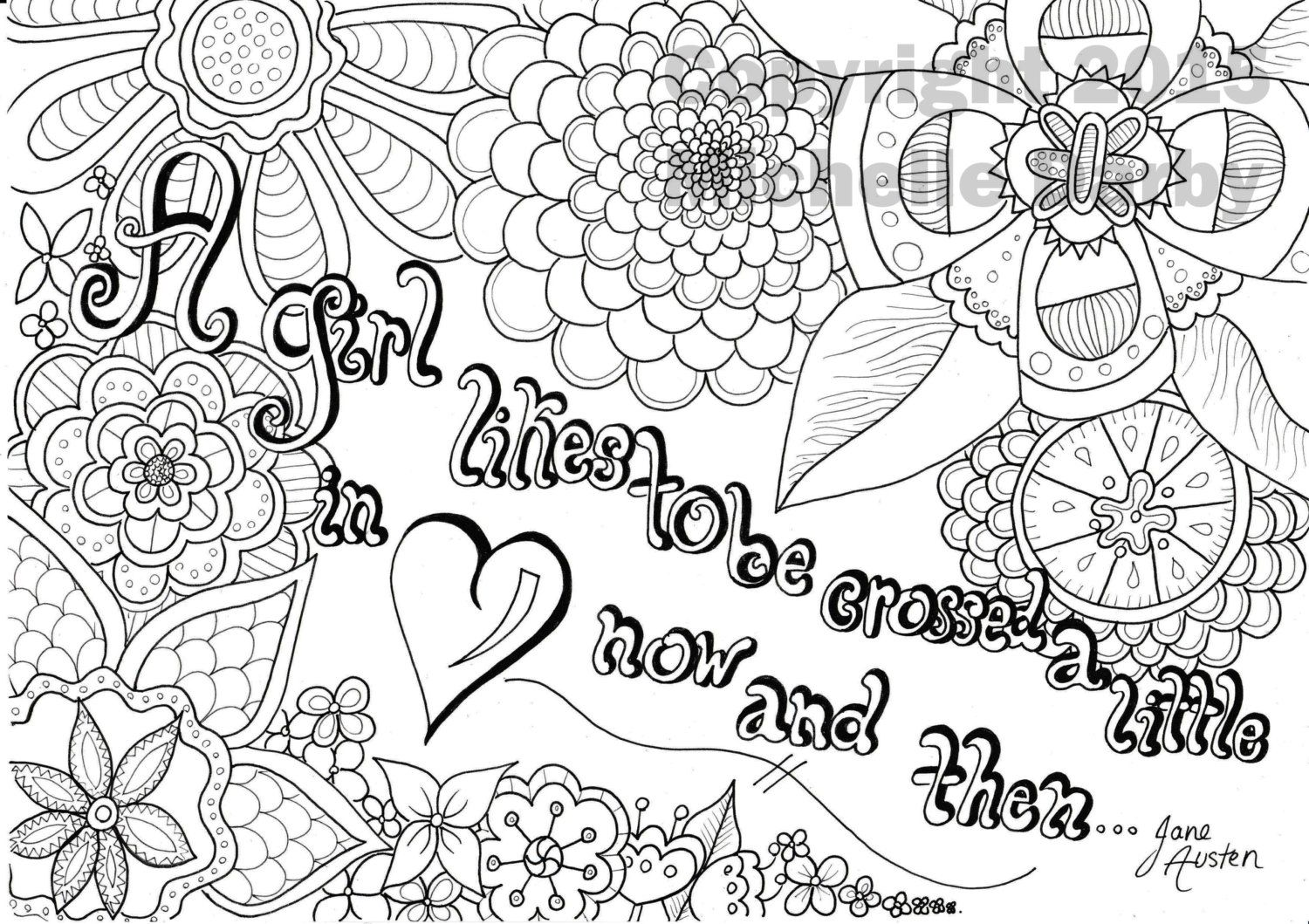 A Girl Crossed In Love Jane Austen Quote Coloring Page Coloring