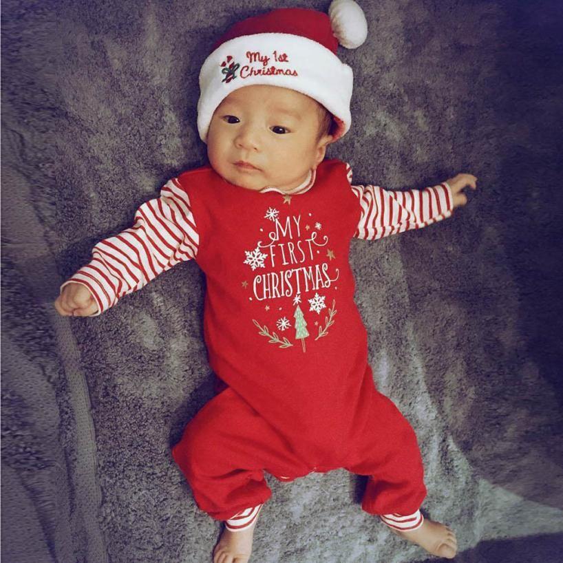 Christmas Newborn infant Baby Girl Boy Letter striped Long sleeve