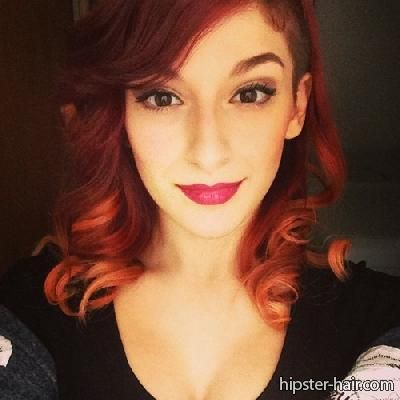 shaved undercut curly red hair