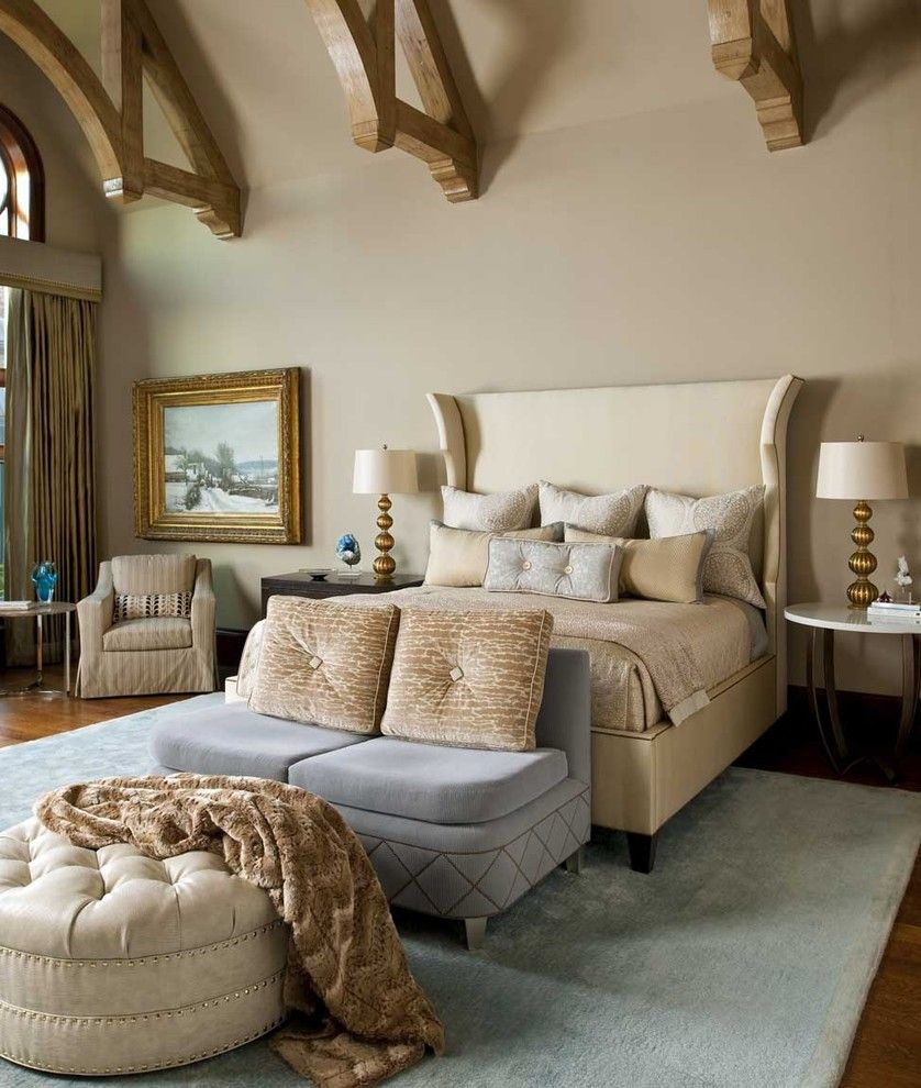 Bedroom layouts Wingback Bed Bedroom Traditional with