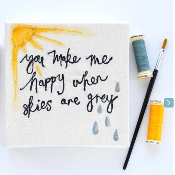 Hand painted and embroidered sunshine quote canvas frame/ | Etsy ...