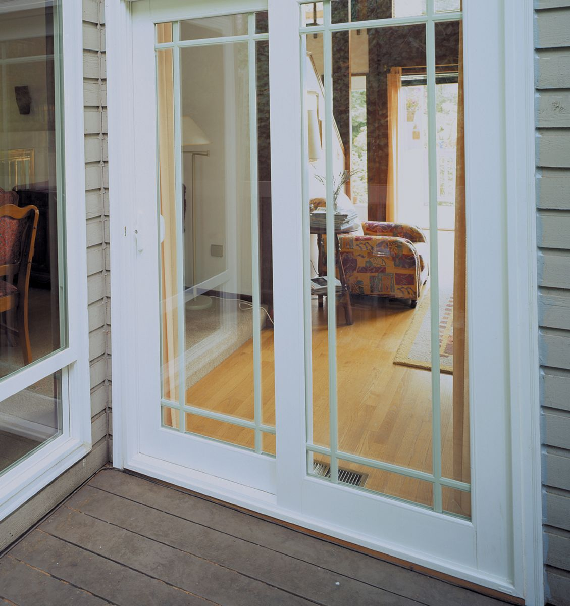 Close Up Of Patio Doors With Perimeter Grids Vinyl Patio Doors Sliding Doors Exterior Vinyl Sliding Patio Door