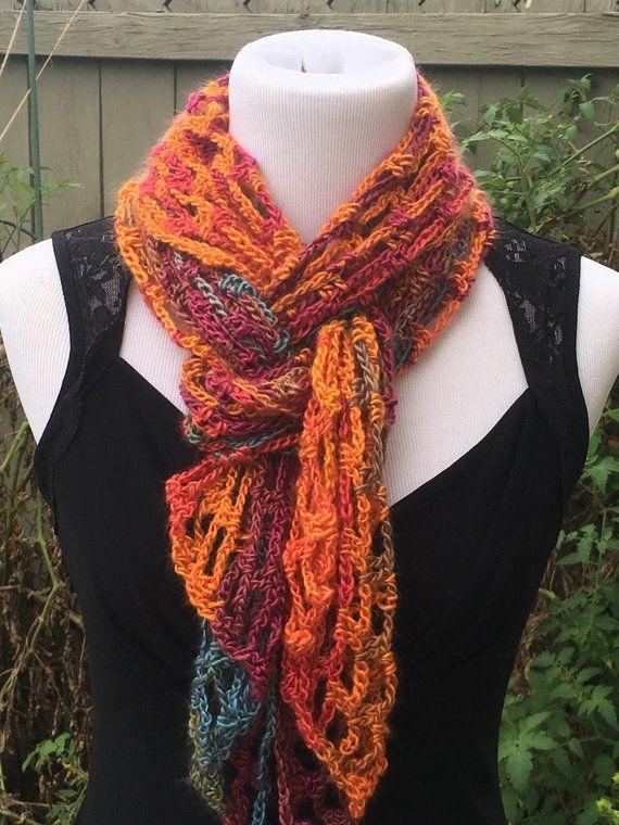 Multi Color Knit Scarf, Handmade Crochet Scarf, Open Weave ...
