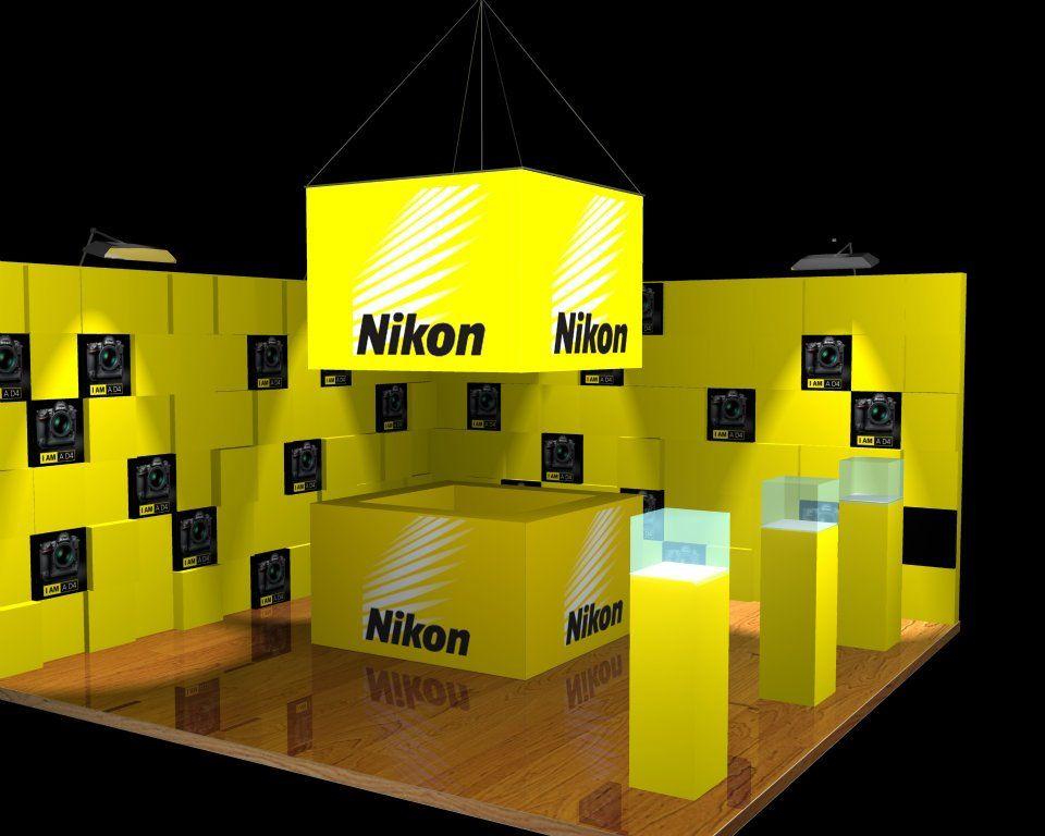 Nikon stand dise o de stand publicitario para la marca nikon 3dmodeling mappinguv - Stand de diseno ...