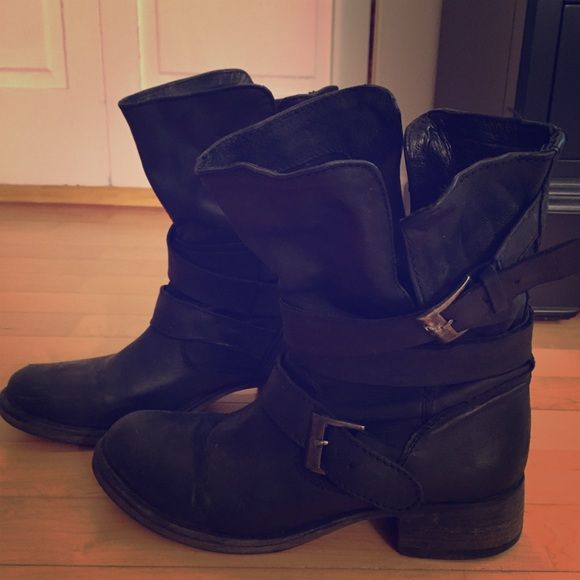 Black Steve Madden Boots Black Steve Madden boots. Distressed look. Worn about ten times. Steve Madden Shoes