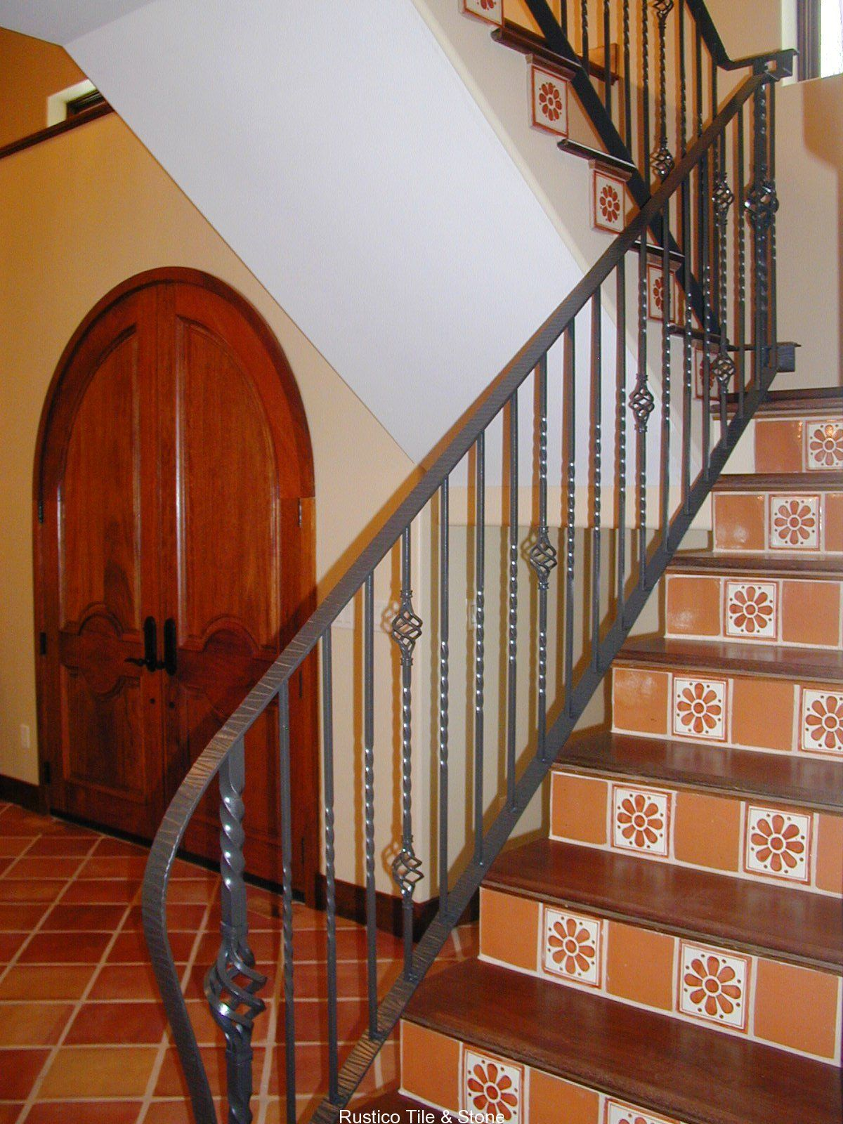 12x12 Saltillo Installed With Mexican Tiles As The Stair Risers For An  Authentic Mexican Decor