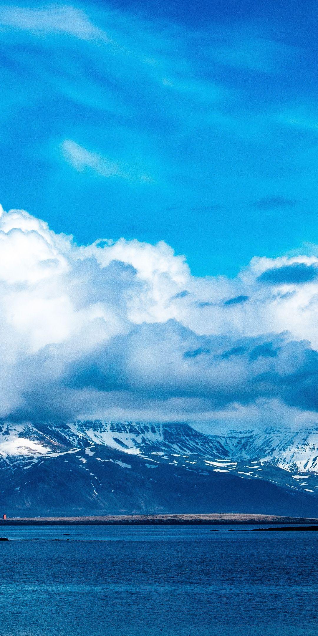 Blue Sky Clouds Mountains Winter Sea Nature 1080x2160 Wallpaper Wallpaper Landscape Clouds Sky