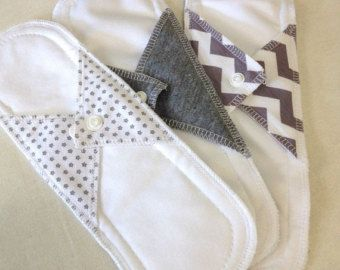 Natural Girl re-usable modern cloth sanitary menstrual pads. x3 LIGHT or panty liner pads