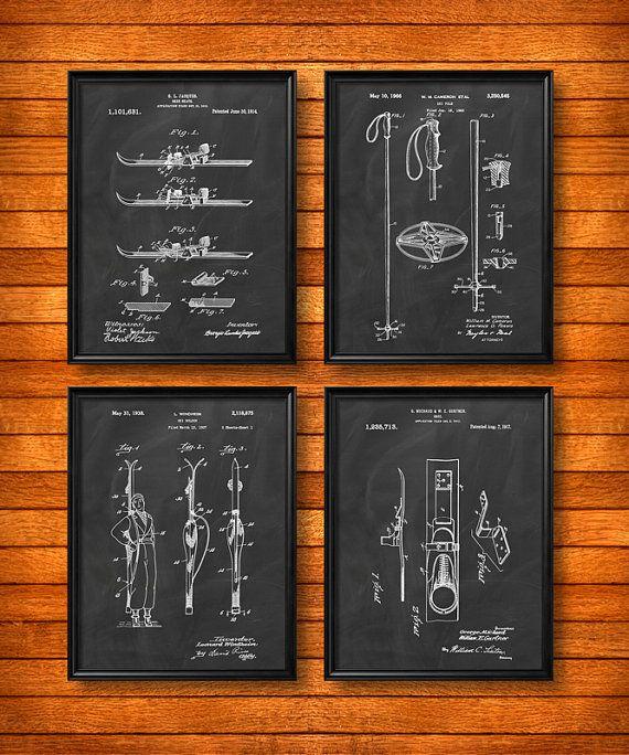 Set Of 4 Ski Posters Art Print Or Canvas Wall Vintage Ilration Home Decor Lodge Skis Skiing Racing Gift S22