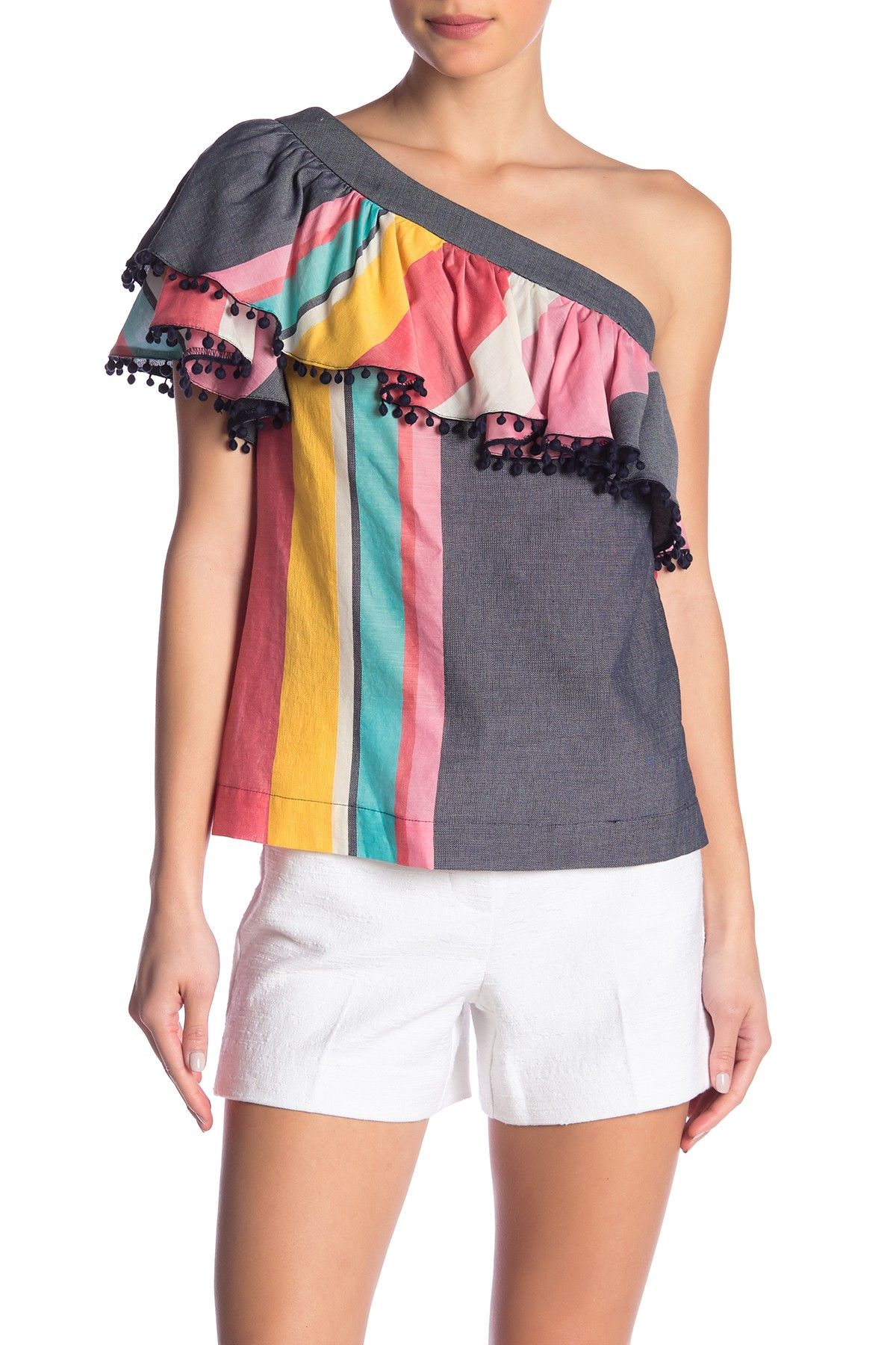 5304c01472a02 Trina Turk - Los Angeles One Shoulder Pompom Trim Blouse. Free Shipping on  orders over