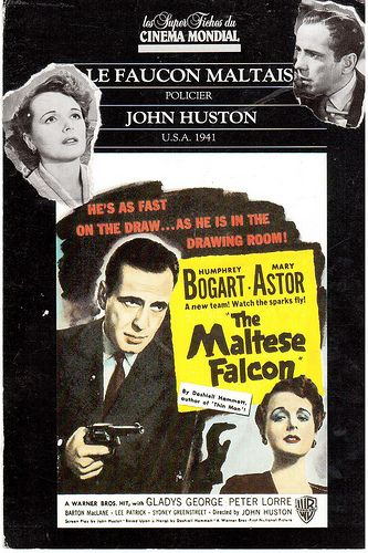"""The Maltese Falcon"" - 1941 movie starring Humphrey Bogart. Sent by a mail artist friend in France."