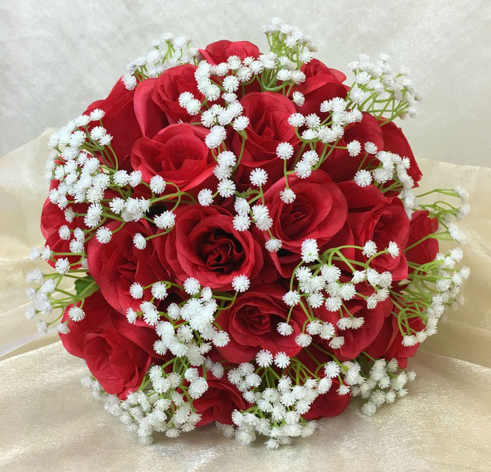 Artificial silk flower red roses baby s breath flowers
