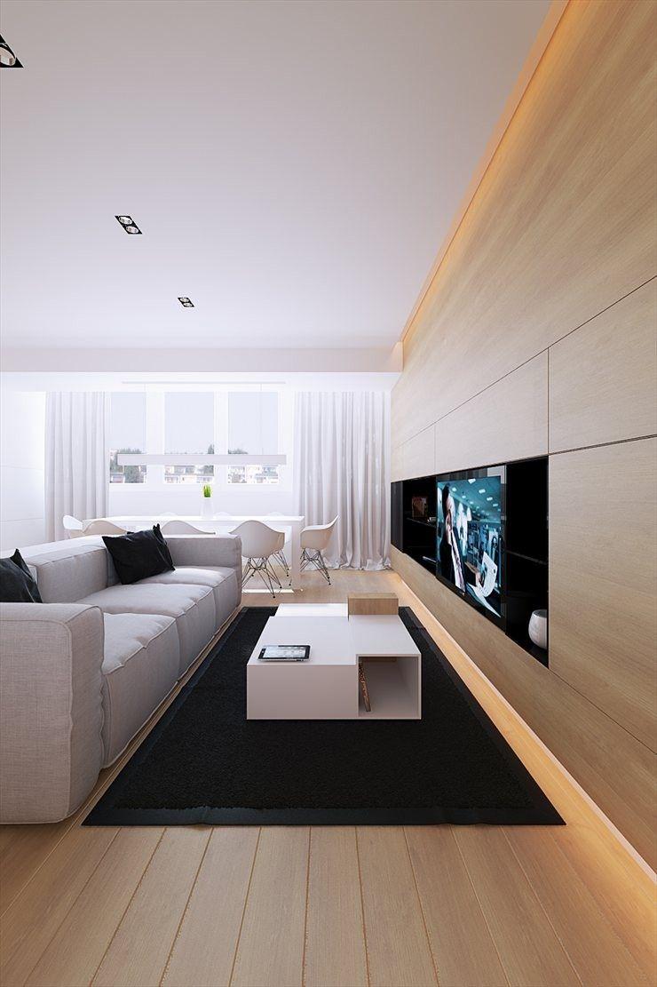 Meuble Tv Contemporain En Bois Realise Sur Mesure Dans L Appartement