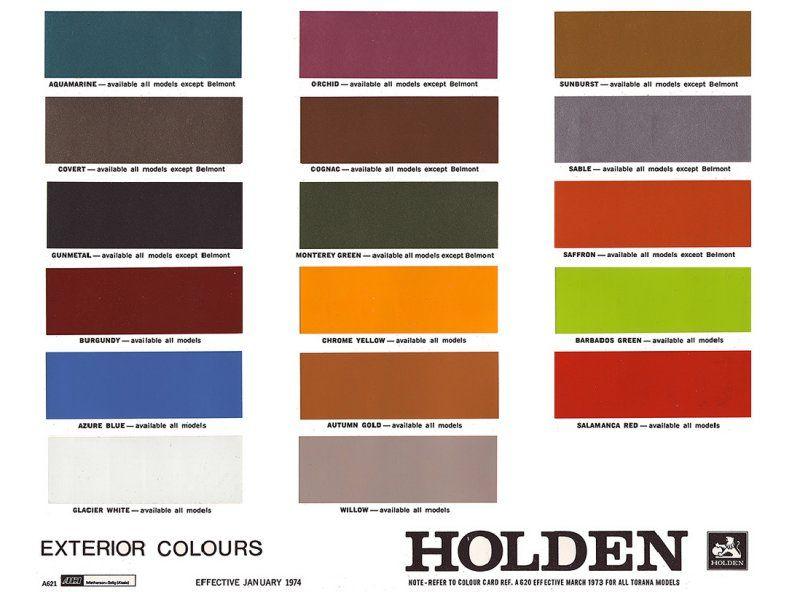 Holden HQ Colour Card | Paint color chart, Paint color codes