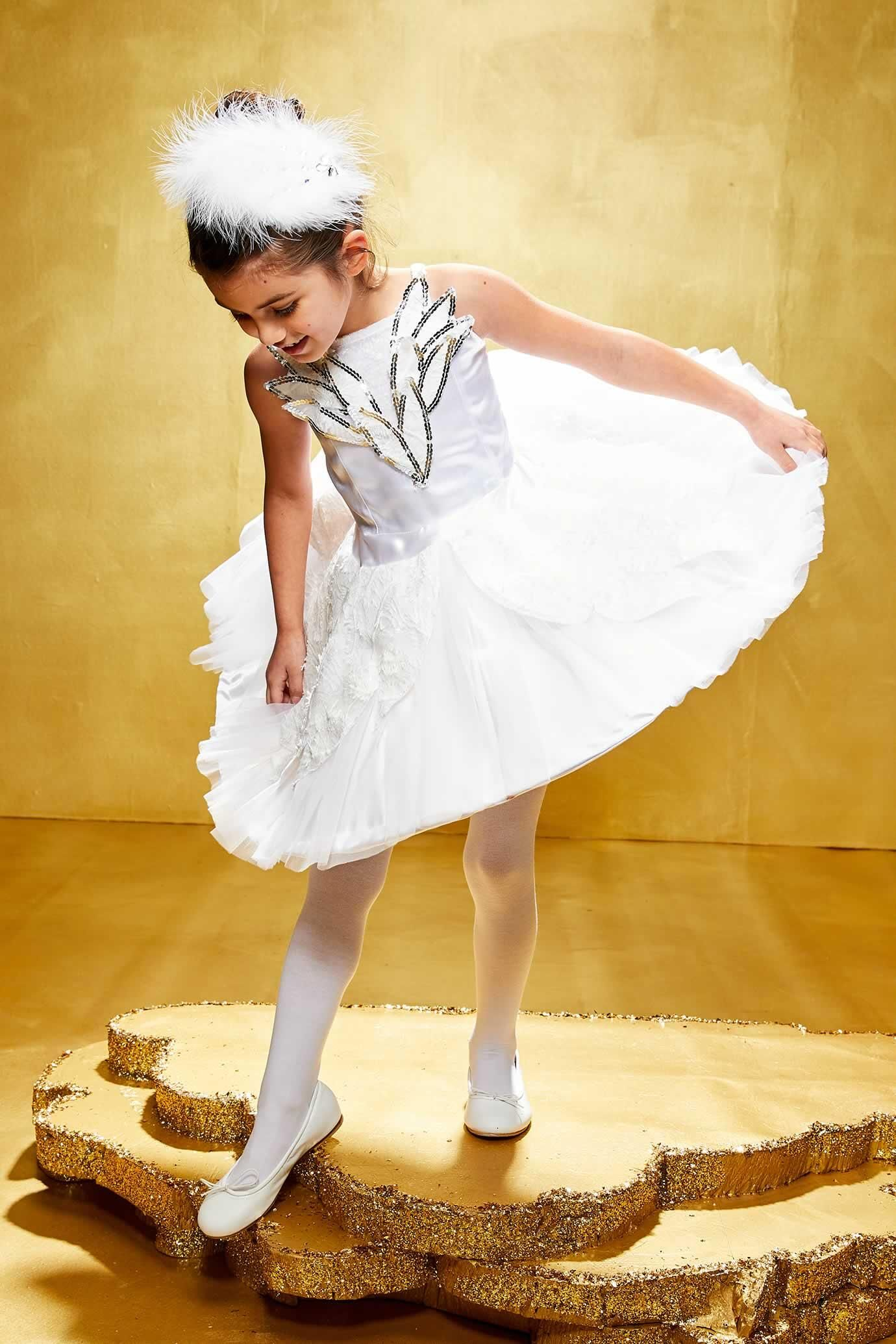 White Swan Ballerina Costume For Girls Chasing Fireflies
