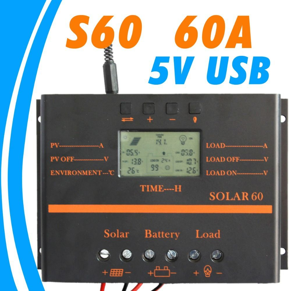 60a Solar Controller Lcd Pv Panel Battery Charge Controller 12v 24v Solar System Home Indoor Use 5v Usb Solar Charge Solar Usb Charger Pv Panels Solar Charger