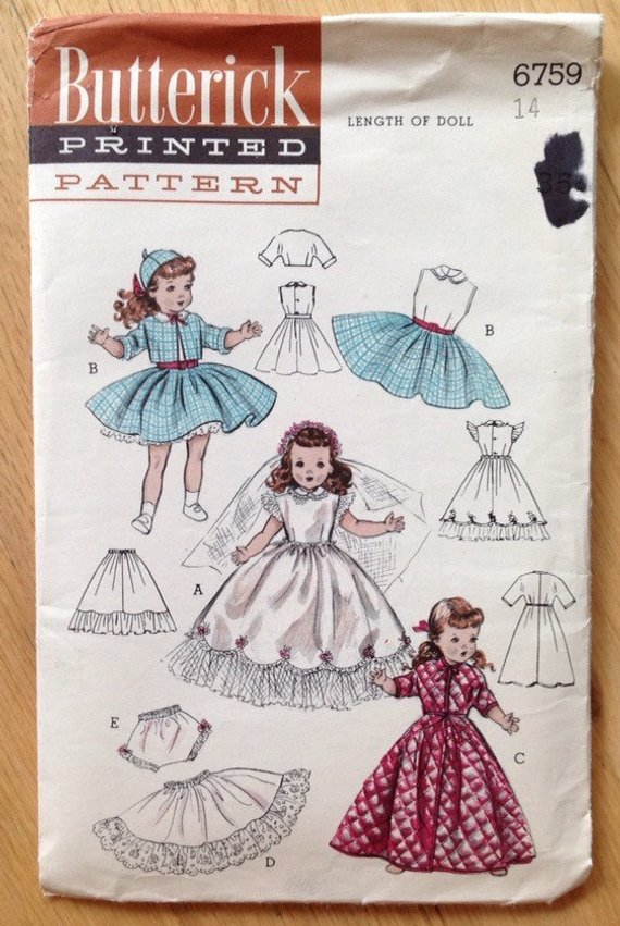 etc Vintage Butterick 5969 for 14 inch dolls such as Toni Miss Revlon
