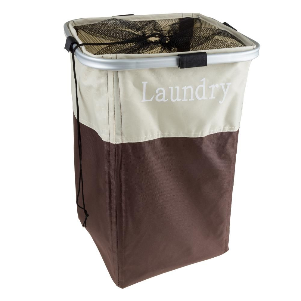 Lavish Home Brown Collapsible Canvas Laundry Basket With Mesh
