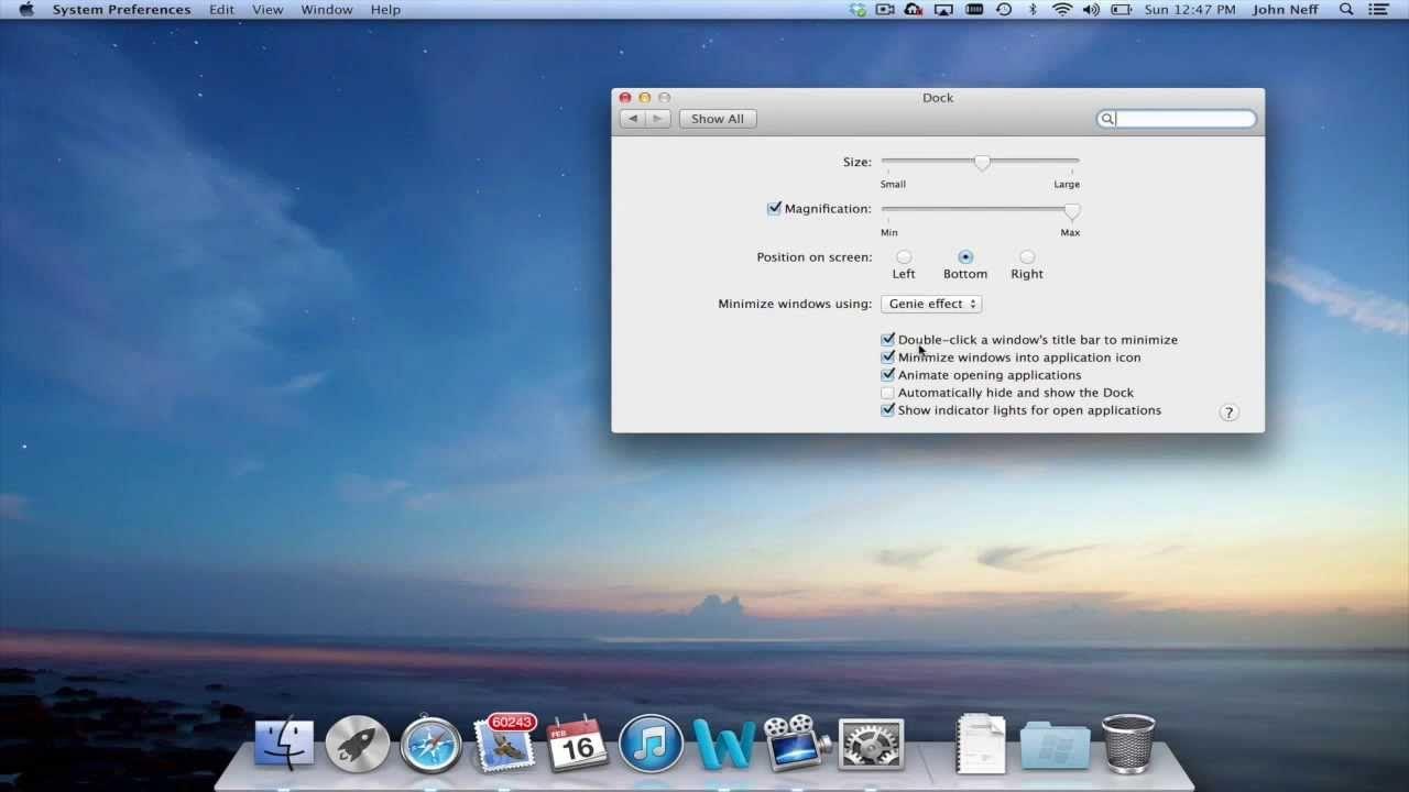 Changing Dock Preferences On A Mac Preferences Dock Mac
